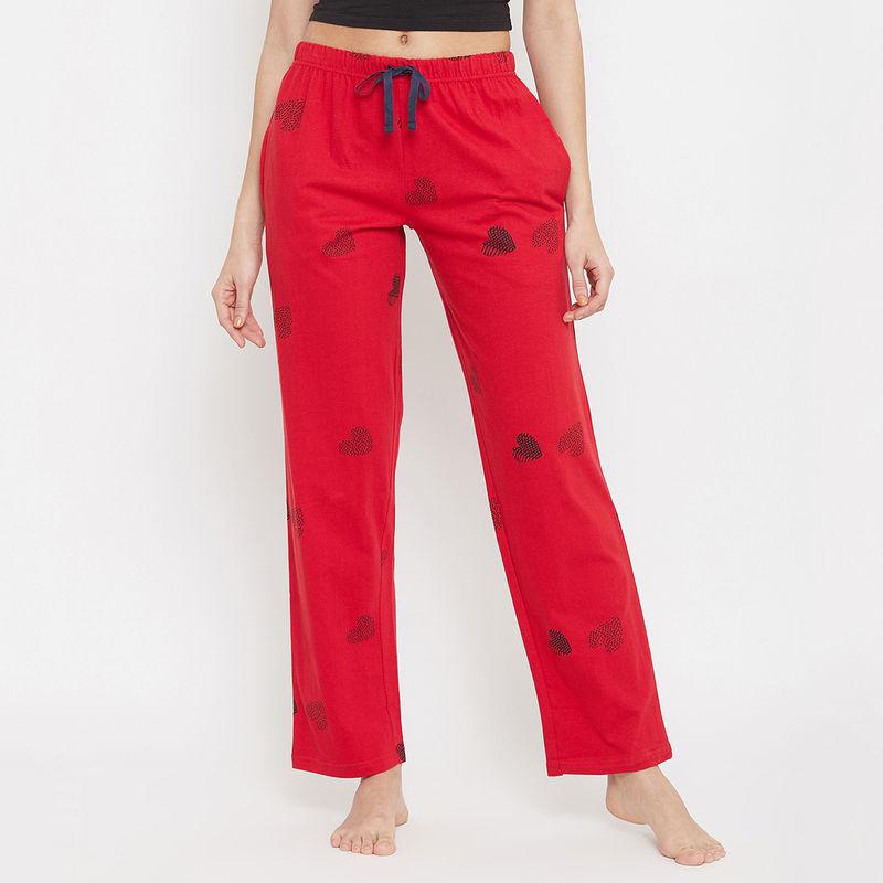Clovia Cotton Printed Pyjama Pants - Pink (S)