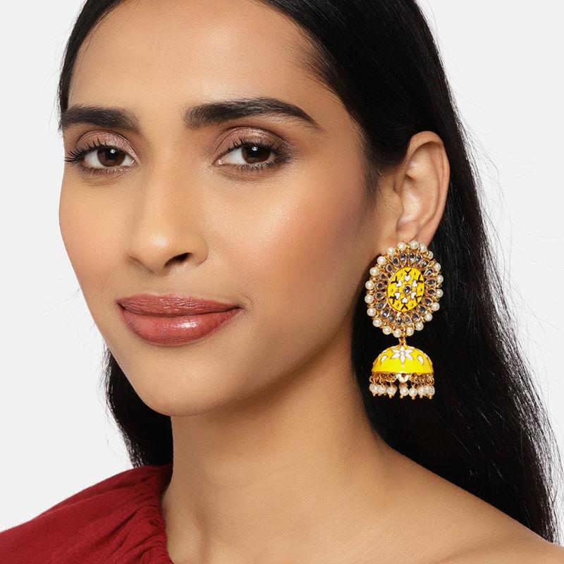 Zaveri Pearls Yellow   White Meenakari Floral Kundan Jhumki Earring  ZPFK9984