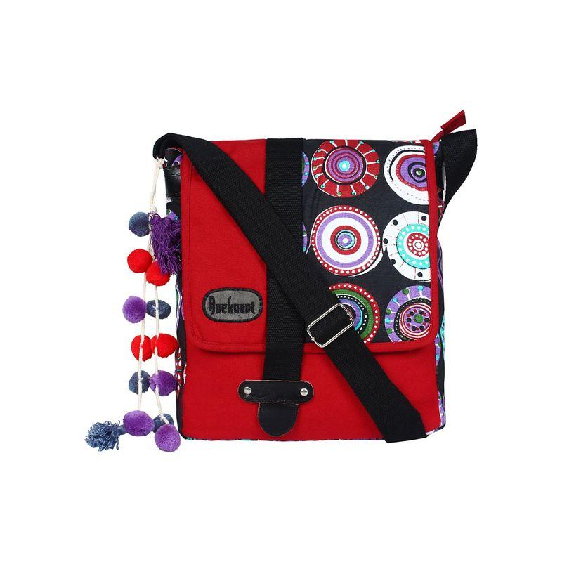 Anekaant Fancy Red   Black Canvas Messenger Bag