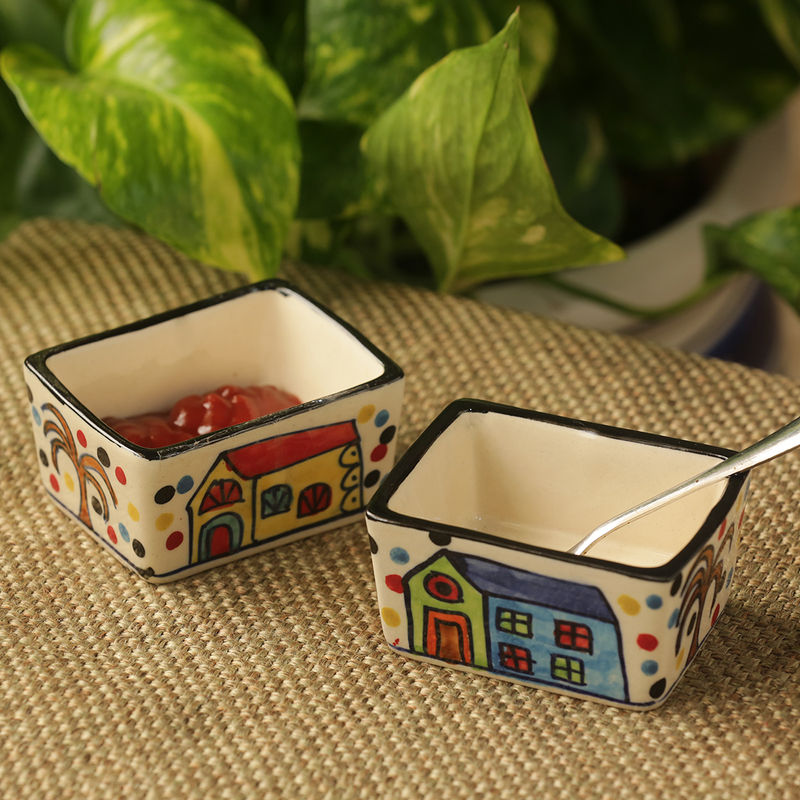 ExclusiveLane 'Two Dips Of Hut' Hand Painted Ceramic Chutney   Pickle Bowls  Set Of 2