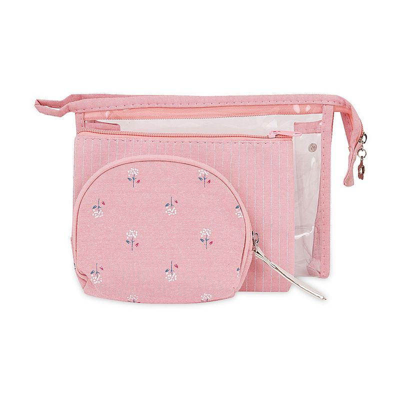 Visual Echoes Multi Purpose Travel Cosmetic/ Toiletry/Organiser Zipper Pouch   Set Of 3  Pink