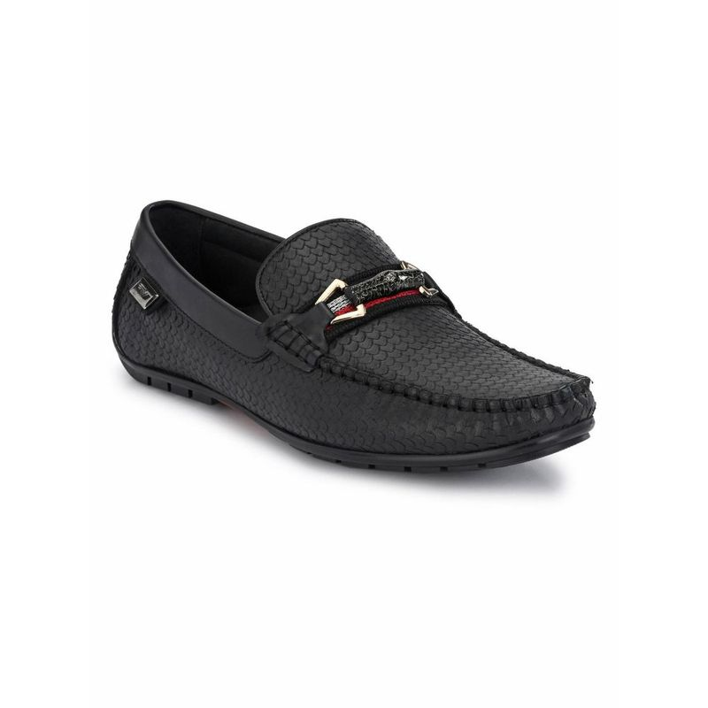 Hitz Solid Black Leather Loafers - Uk 9