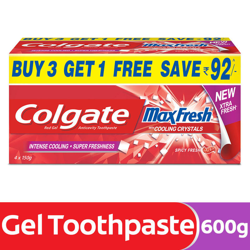 Colgate Maxfresh Spicy Fresh Toothpaste Buy 3 Get 1 Free Save Rs95