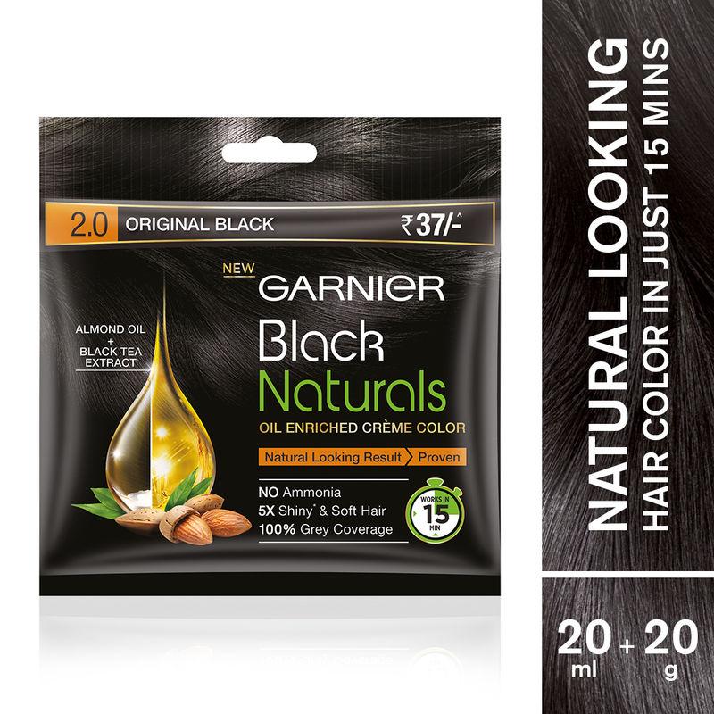 Garnier Black Naturals Oil Enriched Cream Hair Colour - 2.0 Original Black