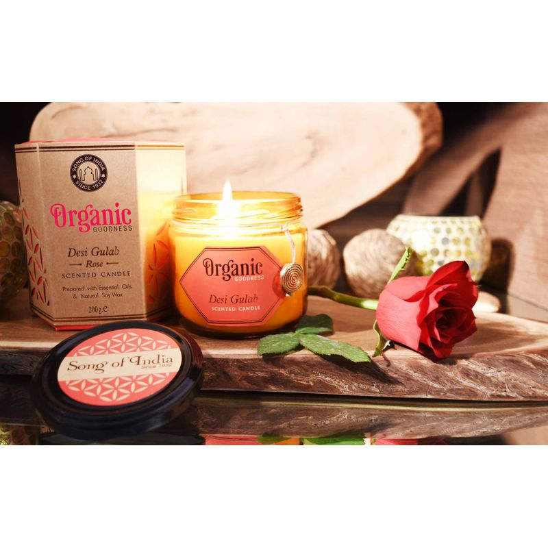 Song Of India Desi Gulab - Rose Organic Soy Wax Candles(200gm)