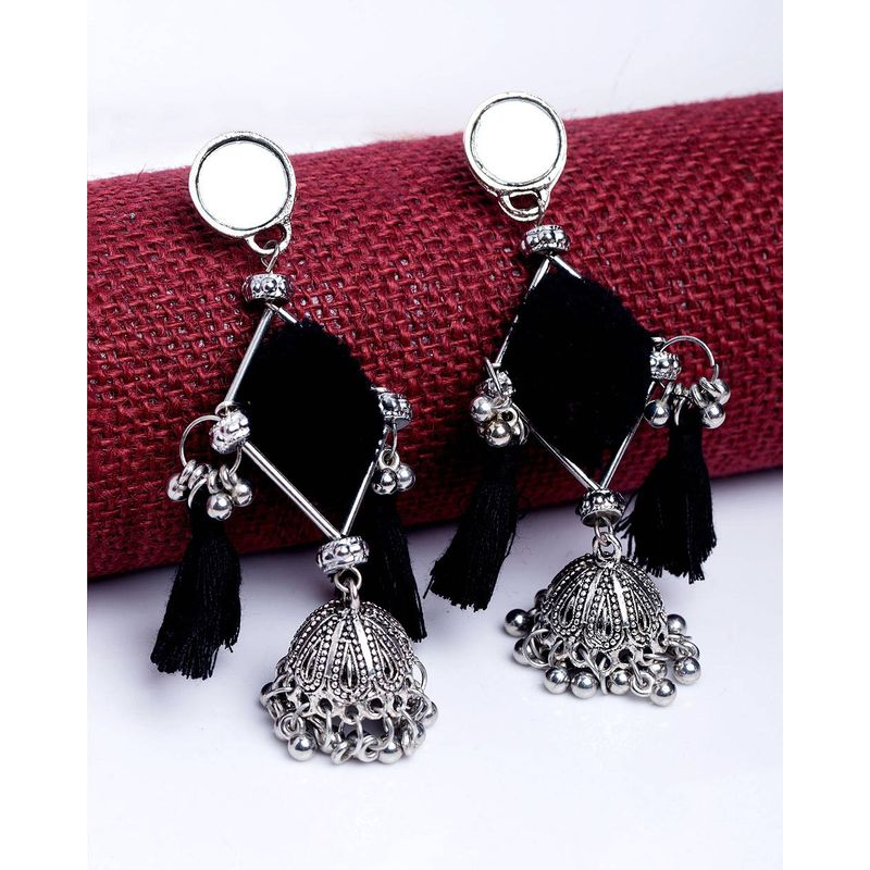 3294804bb Voylla Black Tassel Oxidized Jhumka Earrings With Ghungroos at Nykaa.com