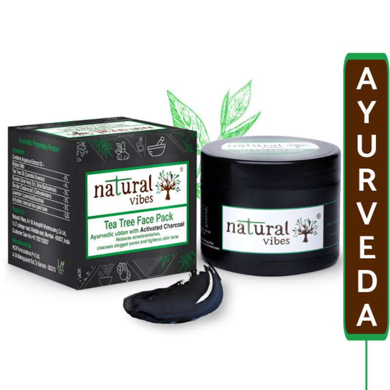Natural Vibes Ayurvedic Tea Tree With Activated Charcoal Face Pack