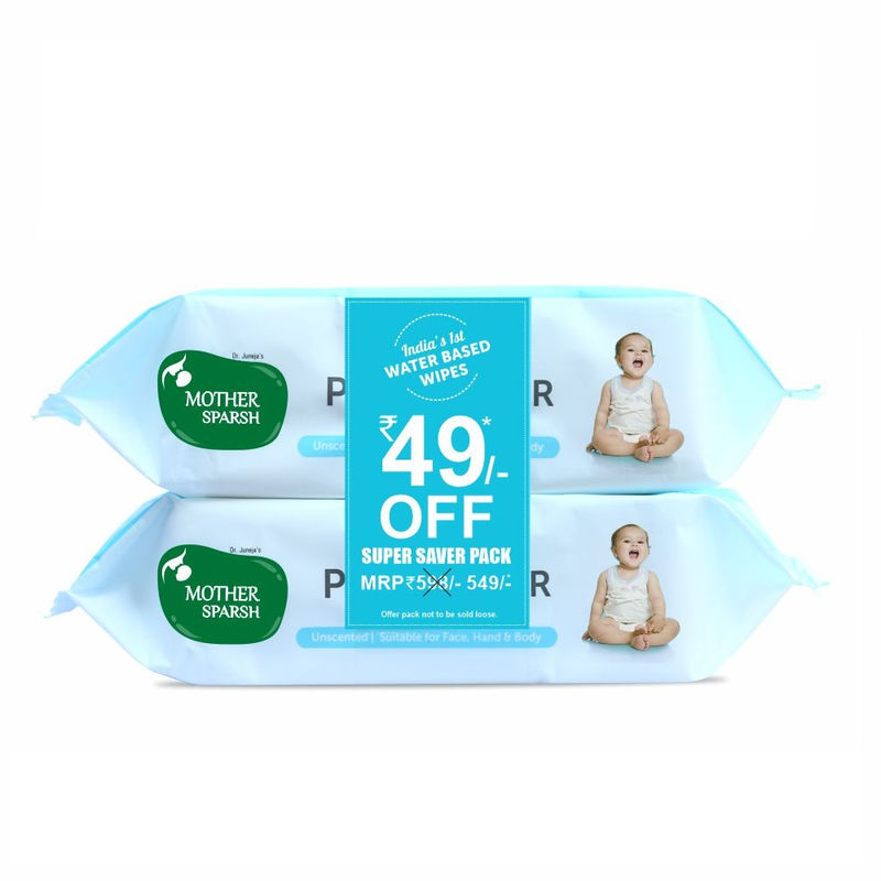Mother Sparsh 99 % Pure Water Unscented Baby Wipes Pack Of 2