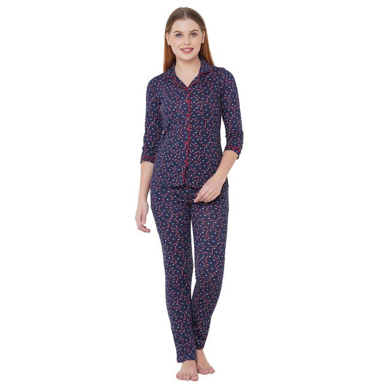 Sweet Dreams Women's Floral Print 3/4th Sleeve Front Open Cotton Rich Top   Pyjama Set   Blue