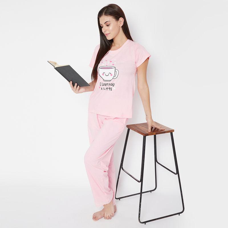 Clovia Cup & Text Print Top & Pyjama Set in Baby Pink - 100% Cotton (S)