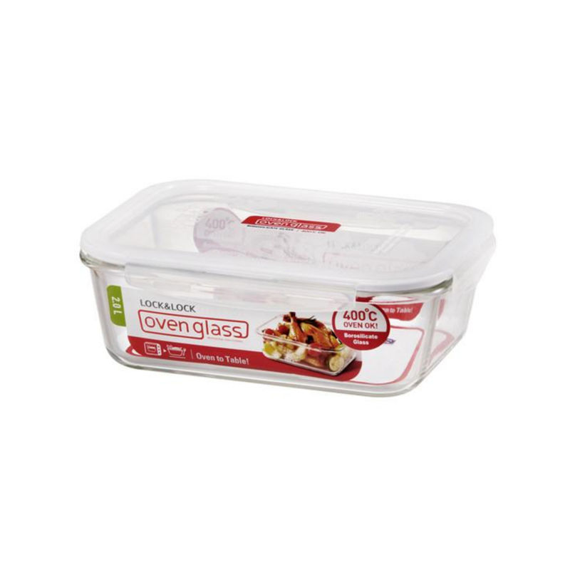 Lock   Lock Euro Glass Rectangular Bake And Store Container, 2 Litres