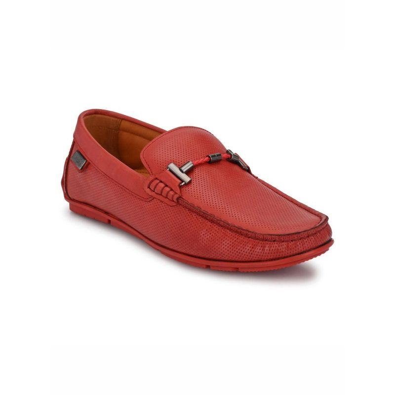 Hitz Solid Red Leather Loafers - Uk 6