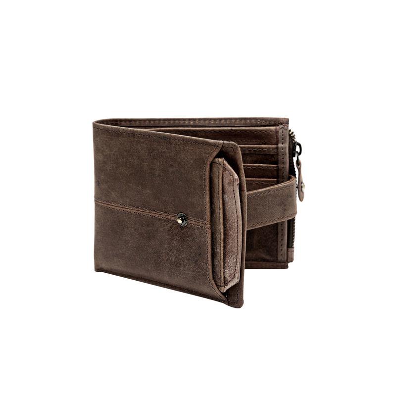 Teakwood Brown Solid Zip Around Wallet (WLT_485_BROWN)