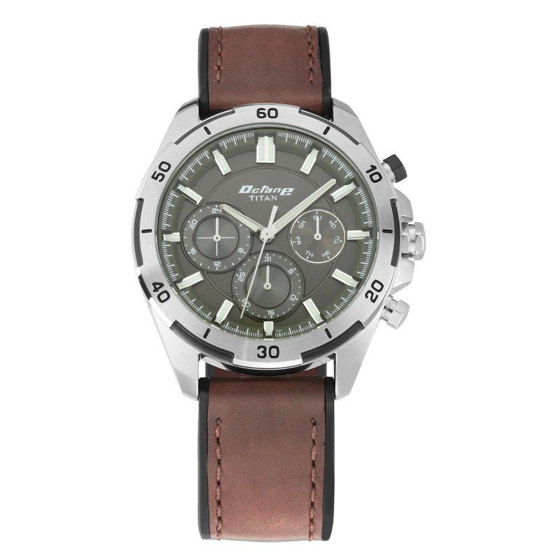 Titan Octane Hyper Lume Watch With Hybrid Strap