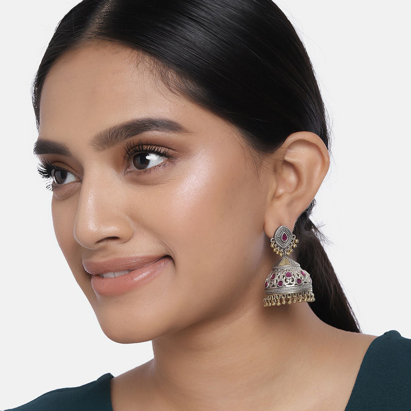 Peora Oxidised Silver Plated Brass Jhumki Earring For Women  PF55E31R