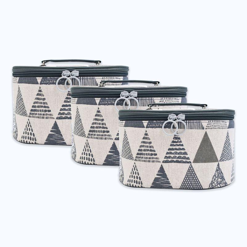 Visual Echoes Multi purpose Travel Cosmetic/toiletry/organiser Vanity Kit   Set Of 3 geometric Grey