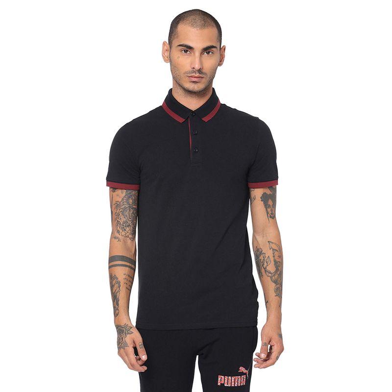 Puma Ess Pique Tipping Polo T-shirt - Black (XS)