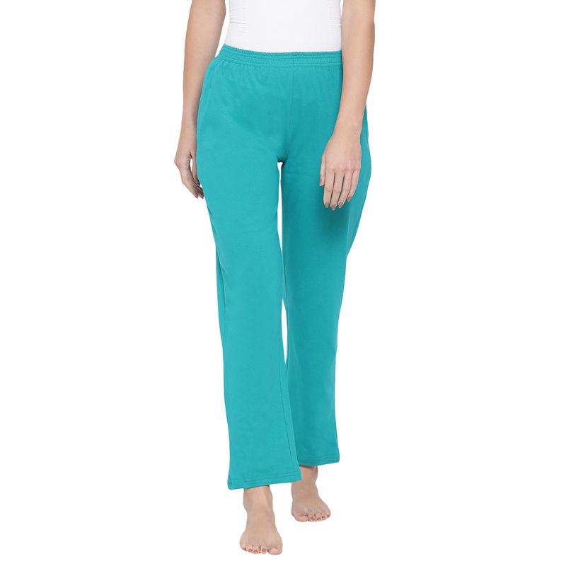 Clovia Cotton Rich Pyjama In Sky Green (S)