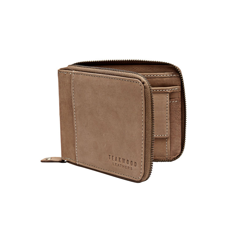 Teakwood Leathers Men Brown Solid Genuine Leather Zip Around Wallet