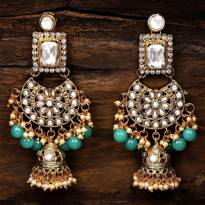 Zaveri Pearls Kundan   Green Beads Wedding Collection Jhumki Earring   ZPFK8666