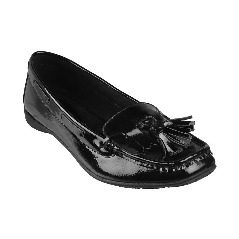 CATWALK Black Pure Leather Fringed Loafers