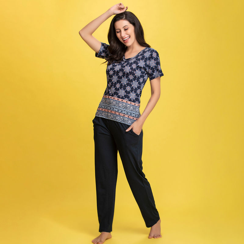 Clovia Print Me Pretty Top & Pyjama Set in Navy Blue - Cotton Rich (S)