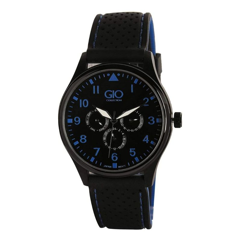 Gio Collection Men's Black Round Analogue Watch
