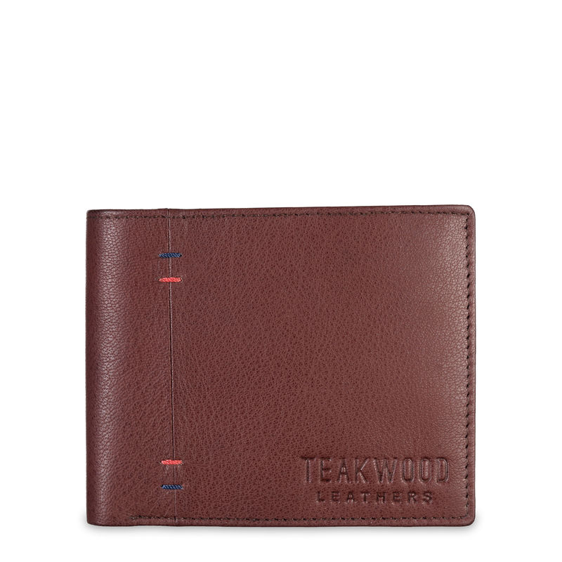 Teakwood Leathers Men Brown Textured Two Fold Leather Wallet
