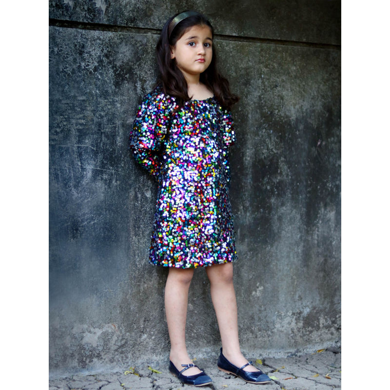 Piccolo Multi-Color Embellished Mini Dress (2-3 Years)