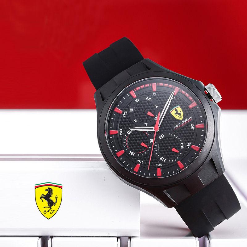 Scuderia Ferrari Pit Crew 0830678 Black Dial Watch For Men