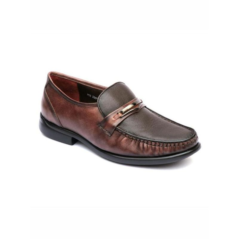 Hitz Solid Brown Comfort Leather Shoes - Uk 6