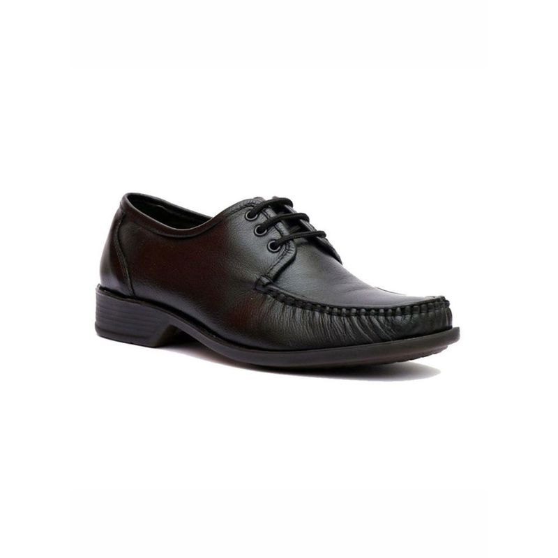 Hitz Solid Black Comfort Leather Shoes - Uk 6