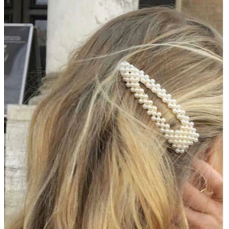 OOMPH Jewellery Gold Tone Geometric Shape Pearl Party Hair Clips Hairpin For Women & Girls