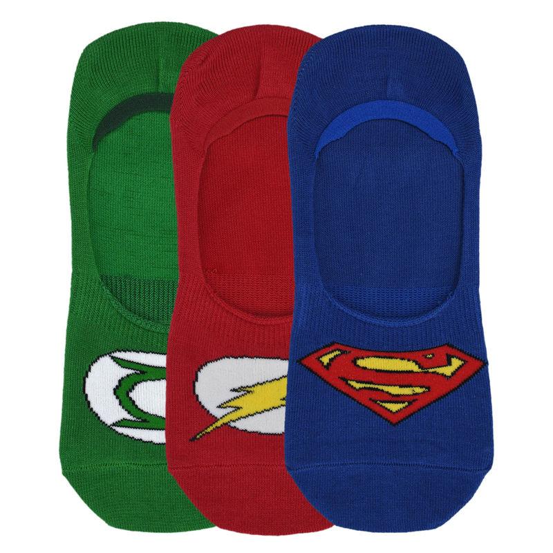 Balenzia X Justice League Men's No Show Socks, Pack Of 3   Multi Color  Free Size