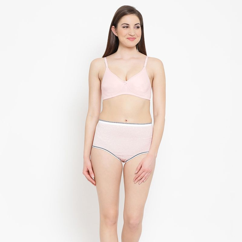 9f0bb5f43db Clovia Cotton Padded Non-Wired Multiway T-Shirt Bra And High Waist Hipster  Panty - Pink at Nykaa.com