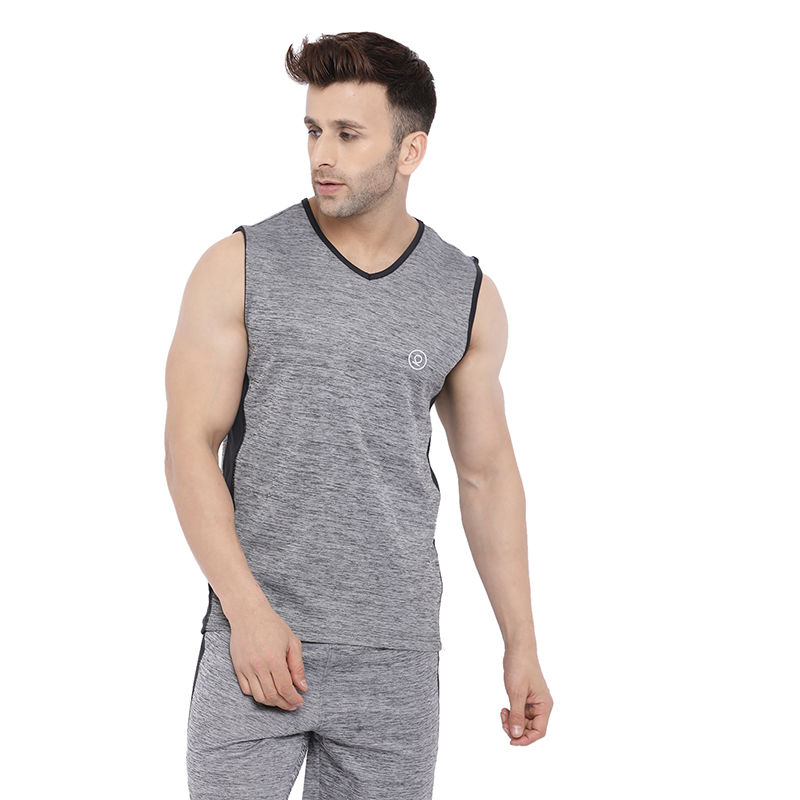 Chkokko Men Gym Tank Tops - Grey (S)
