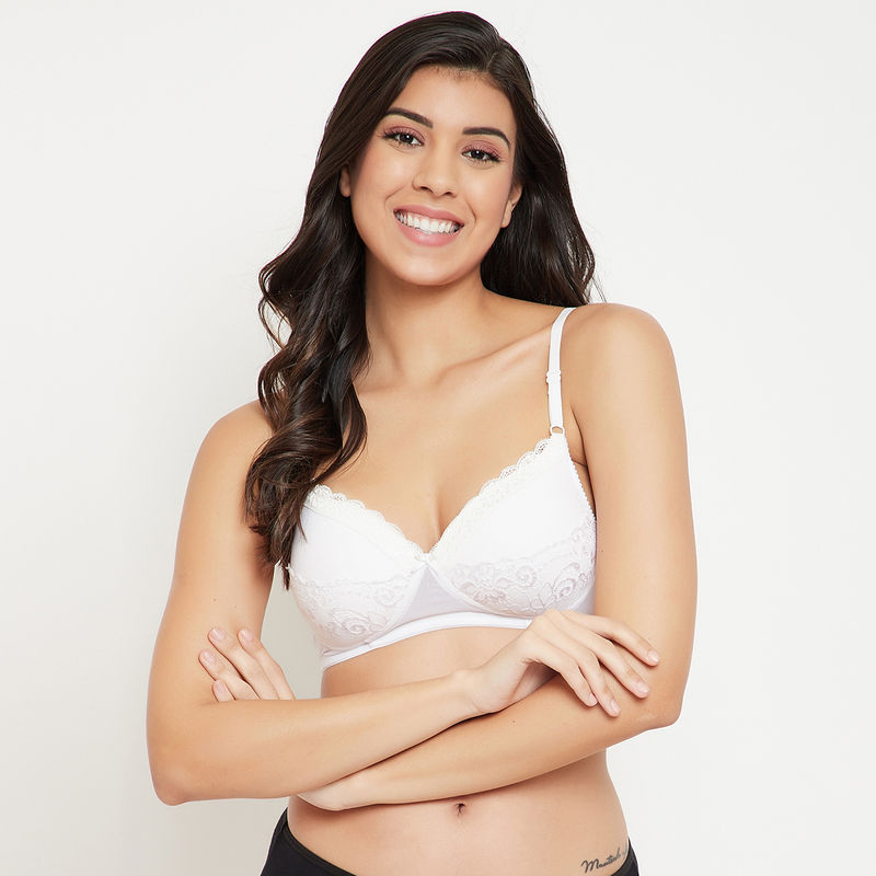 Clovia Padded Non-wired Demi Cup Level 1 Push-up Bra In - White (32C)