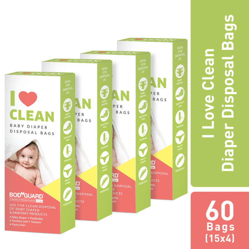 BodyGuard   Baby Diapers   Sanitary Disposal Bag   60 Bags  4 Pack   15 Bags Each