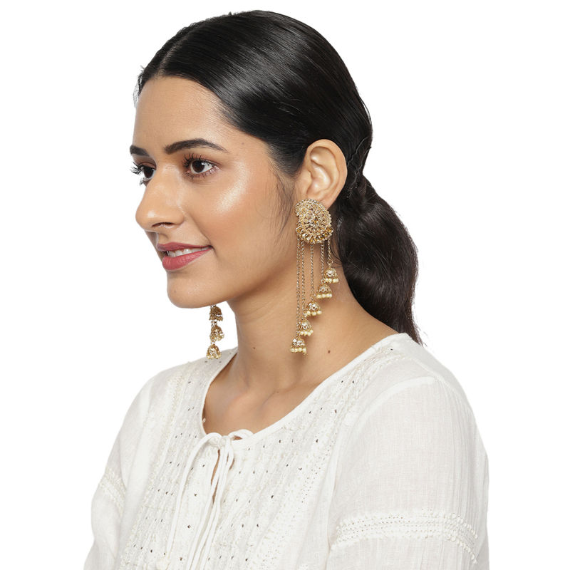 Zaveri Pearls Antique Gold Tone Dangling Jhumki Drops Earring   ZPFK9283