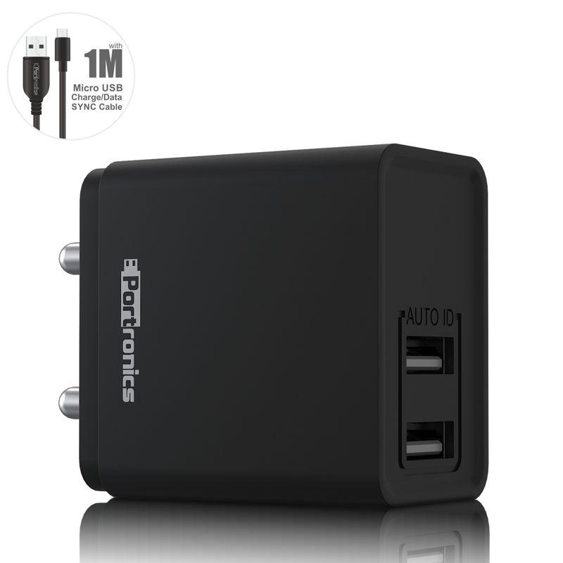 Portronics Por 649 Adapto 649 2.4a Charger With 1m Micro Usb Cable I Dual Usb Ports  black
