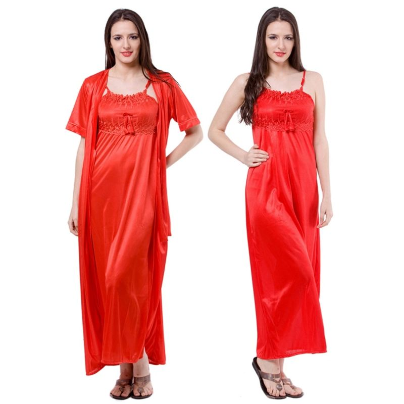 246af4699faa2 Fasense Women Satin Nightwear 2 PCs Set Of Nighty & Wrap Gown at Nykaa.com