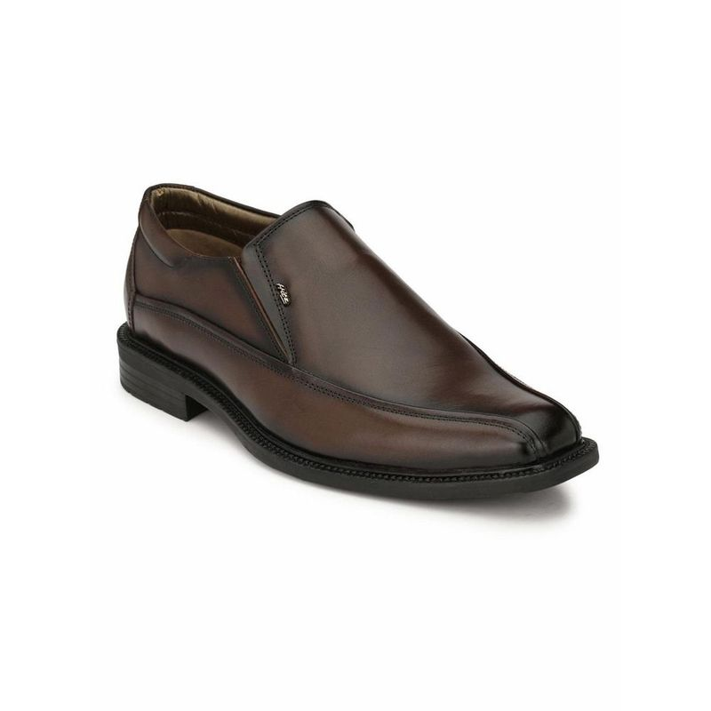 Hitz Solid Brown Leather Formal Leather Shoes - Uk 6
