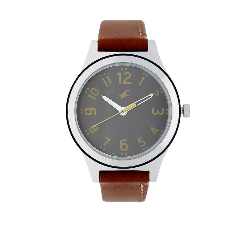 Fastrack Bare Basics Grey Dial Leather Strap Watch