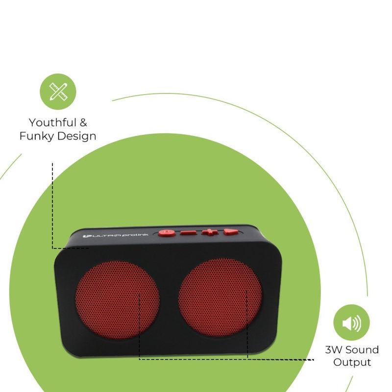 UltraProLink Um0096 Hi Q Junior Portable Wireless Bluetooth Multimedia Speaker 3W  Red