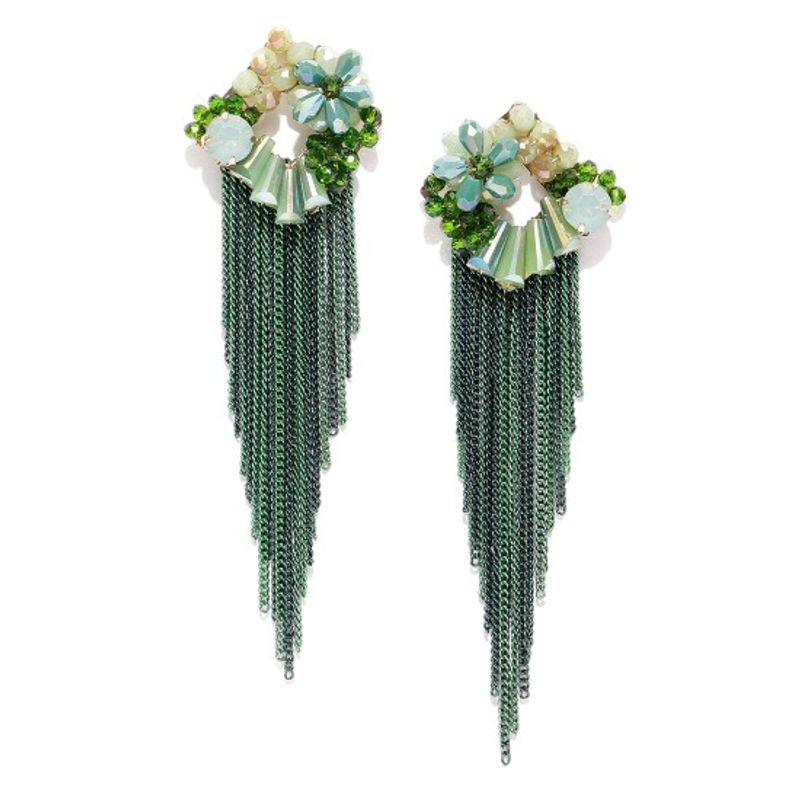 086b2d06f Jewels Galaxy Exclusive Gracious Floral Gold Plated Fabulous Green Chain  Drop Tassel Earrings at Nykaa.com