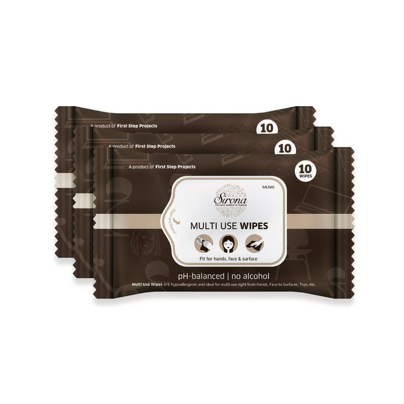 Multi Use Wet Wipes by SIRONA   30 Wipes  3 Pack   10 Wipes Each