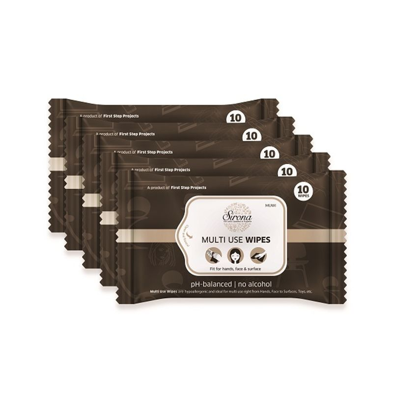 Multi Use Wet Wipes by SIRONA   50 Wipes  5 Pack   10 Wipes Each