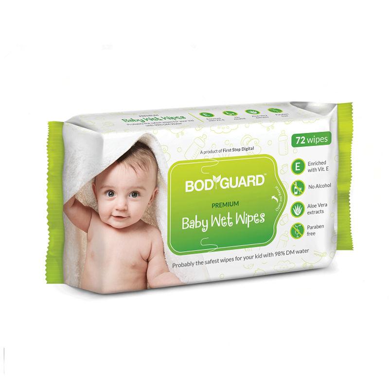 Bodyguard Premium Paraben Free Baby Wet Wipes with Aloe Vera - 72 Wipes