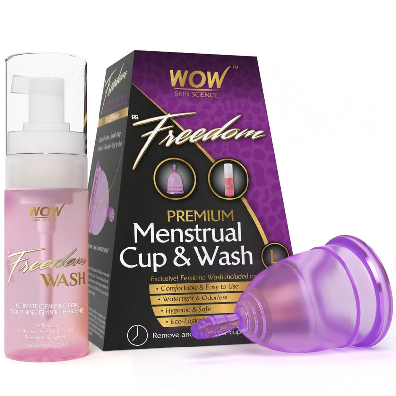 WOW Skin Science Freedom Premium Menstrual Cup & Wash - Large