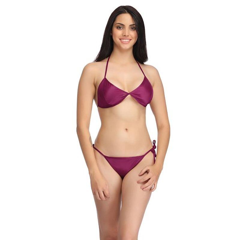 aae8333218b2 Clovia Set Of Halter Neck Bra & Stringy Bikini - Wine (Free Size)(Free Size)